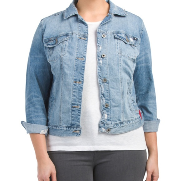 5f20c7eb2a1 NWT Lucky Brand Plus Embroidered Denim Jacket
